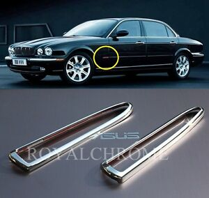 Premium SIDE MARKER TRIMS x2 for JAGUAR XJ Daimler Vanden Plas 03-07 CHROME