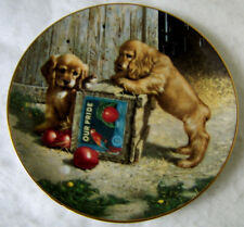 """Double Take Plate by Jim Lamb Cocker Spaniel """"Puppy Playtime"""" Collection No Coa"""