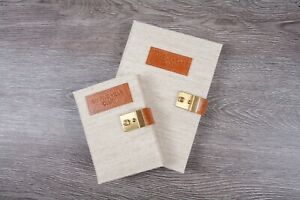 Deluxe Natuur Linen and Leather Five Year Diary with Gold Lock and Key Uk Made
