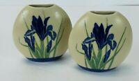 """Vintage Hand Crafted Otagiri Japan Blue Iris Bud Vase 4"""" Lot of 2"""