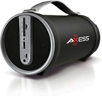 AXESS Portable Bluetooth Wireless Speaker with Subwoofer and FM Radio, SD Card
