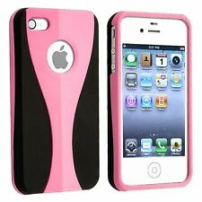 Baby Pink / Black Cup-shape Snap-on Rubber Coated Case for Apple iPhone 4/4S