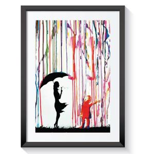 COLOURED RAIN GIRL UMBRELLA UNFRAMED FRAMED POSTER PRINT WALL ART GRAFFITI A3 A4