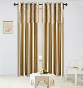 CHAMPAGNE GOLD CRUSHED VELVET &  FAUX SILK CURTAINS EYELET RING TOP FULLY LINED