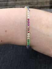 14k Over Solid 925 Sterling Silver 4mm Multicolor Rainbow CZ Tennis Bracelet 7""