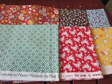 F559, over 1.5 yds quilting fabric, 30's reproduction fabric, 6 pieces, Oop, New