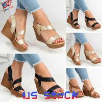 Women Sandals Summer Wedge Slip On Heels Slingback Strappy Pumps Ladies Shoes US