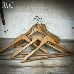6x Vintage Wooden Wardrobe Clothes Hangers Coat Suit Shirt Trouser Bar