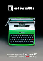 GREEN/SILVER OLIVETTI LETTERA 32- Vintage Working Typewriter