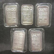 Lot of 5 Johnson Matthey 1 Troy Oz. .999 Fine Silver Bars