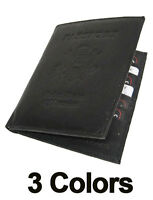 USA PASSPORT PREMIUM COWHIDE LEATHER COVER Travel 8+ Card Case Wallet New