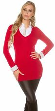 KouCla 2in1 Longpullover Pullover Pulli Sweater mit Nieten
