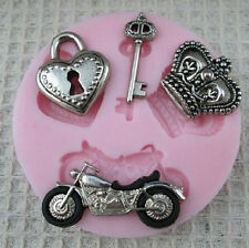 1Pc Heart Key Crown Motorcycle Cake Silicone Mold Flexible Chocolate Mold