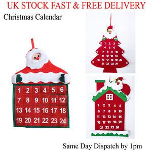 Santa Claus Christmas Advent Calendar Pockets Hanging Decoration Xmas Gifts UK