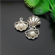 10 Pieces Silver Alloy Vintage, Antique Seashell Pearl Shapes Mini Pendant