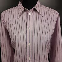 RALPH LAUREN Womens Shirt Blouse Size 14 Long Sleeve Purple Classic Fit Striped