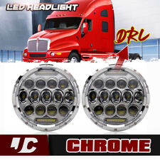 2x 7inch Round LED Hi/Lo Headlights Projector Headlamp For Kenworth T2000 T609