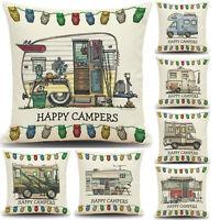Happy Campers Camping Caravan Cushion Covers Throw Pillow Case Carton Sofa Decor