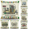 Happy Campers Camping Caravan Cushion Covers Pillow Case Carton Gifts Home Decor