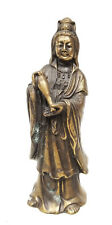 Antique Vintage Chinese 20th Century Cast Bronze Brass Guanyin Kwan Yin Statue