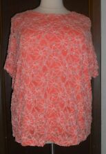 b2668fdabd2 Maggie Barnes Blouse Sz 3x Orange Floral Silver White Lined Short Sleeve
