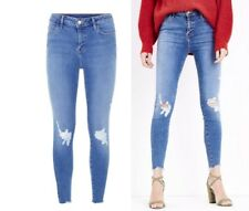 NEW LOOK FRAY HEM BUSTED RIBBED KNEE SUPER SKINNY JEANS  SIZES 6-16