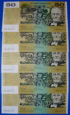 AUSTRALIAN UNC 1973 $50 Cons x5 PHILLIPS WHEELER AUS R505 CRISP FLAT BANK NOTES