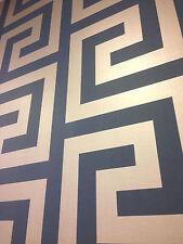 Seabrook Blue/Metallic Silver Greek Key Wallpaper DOUBLE ROLL (8252)
