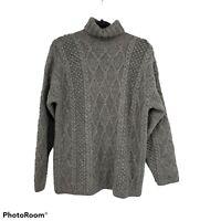 J Crew Mens Cable Knit Turtleneck Wool Sweater Gray Size Medium