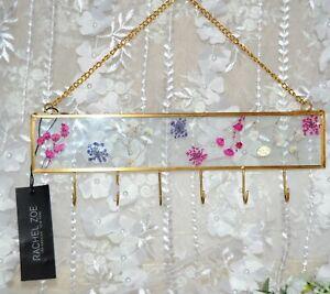 NWT Wall Hanging Key Holder On Chain 6 Hooks W/DRIED FLOWERS IN GLASS RACHEL ZOE