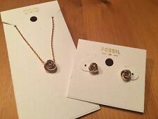 NEU FOSSIL Damenkette Kette mit Herz mit Steinchen JOA00048040 mit Tasche NEU