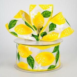 "Lemons on White Canvas 2.5"" Wire Edge Ribbon (2 LENGTHS) Wreath*Bow*Baskets*"