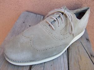 COLE HAAN Mens Casual Dress Shoes Soft Tan Buck Leather Wingtip Oxfords Size 11M