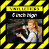 1 Character 6 inch 152mm high pre-spaced stick on vinyl letter & number