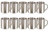 10X Edelstahl Kaffeebecher Doppelwand 0,28L Teebecher Thermobecher Becher Kaffee