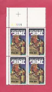 SCOTT 2102 20 CENT CRIME PREVENTION PLATE BLOCK - $1.75 AND FREE SHIPPING