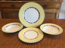 4 VILLEROY AND BOCH CHINA *TWIST ALEA LIMONE DINNER SALAD  PLATE  CEREAL BOWLS