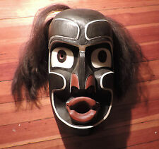 Native American Carved Wood Paint Decorated Mask Coast Salish Kwagiulth Victoria