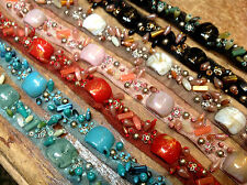 """Beaded Trim  3/4"""" Metal Sequins Hand Sewn Beads Netting 1yd"""