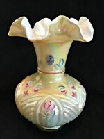Fenton Vase Iridescent Ruffled Top Signed Hand Painted Floral 8 inches Tall