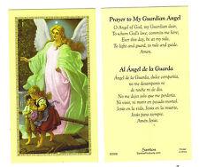 LOT of 2  English / Spanish ~ Prayer to My Guardian Angel Holy Prayer Cards Card