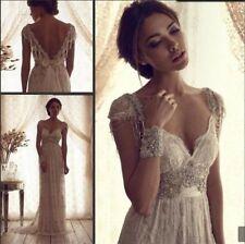 Cap manches en dentelle robes de mariée Backless Vintage perles robe de mariée