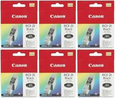 6 x Canon Genuine/Original BCI-21Bk Black Printer Ink Cartridges 21 Bk BJC-4000