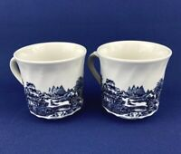 Tonquin Blue By Churchill Set of 2 Coffee/Tea Cups England 3 1/8""