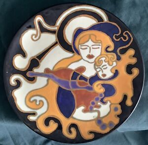 Gouda Dutch Art Pottery Plate, Judy Haines, hand painted, Mother & Child