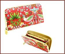 William Morris Strawberry Thief pattern purse wallet 20cm long, canvas oil cloth