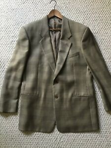 Armani (Mani) Virgin Wool Taupe Charcoal Lines Glen Plaid Sport Coat 42R Italy