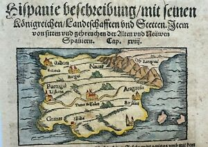 SPAIN PORTUGAL CARTHAGENE 1550 COSMOGRAPHY OF MUNSTER ANTIQUE MAP 16TH CENTURY
