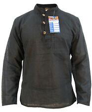 Plain Men's Cotton Full Sleeve Grandad Collarless Button Light Weight Shirt Tops