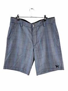 Mambo Casual Shorts Mens Size 36 Grey Check Golf Pockets Logo Walking Zip Close